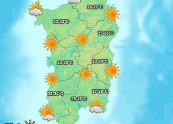 La previsione meteo per la giornata di oggi.