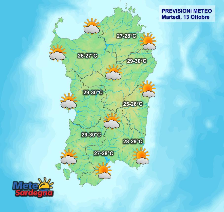 Le condizioni meteo di oggi, martedì 13 Ottobre.