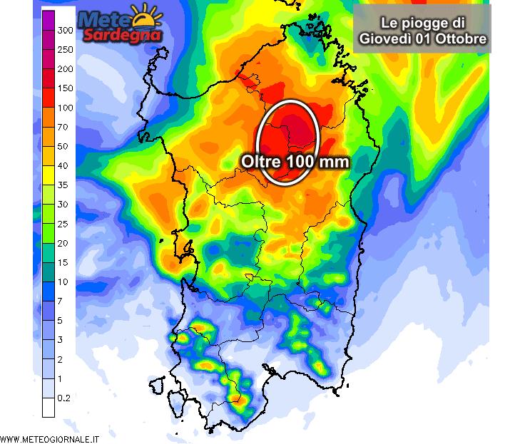 Le piogge di oggi 01 Ottobre secondo il nostro LAM o modello matematico ad altissima risoluzione.