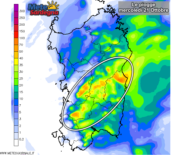 Le piogge di oggi, mercoledì 21 Ottobre, secondo il nostro modello LAM ad alta risoluzione.