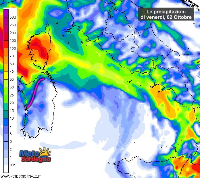 Le piogge venerdì 02 Ottobre secondo il modello di previsione del Meteo Giornale.