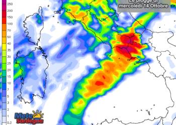 Le piogge mercoledì 14 Ottobre secondo il modello di previsione del Meteo Giornale.