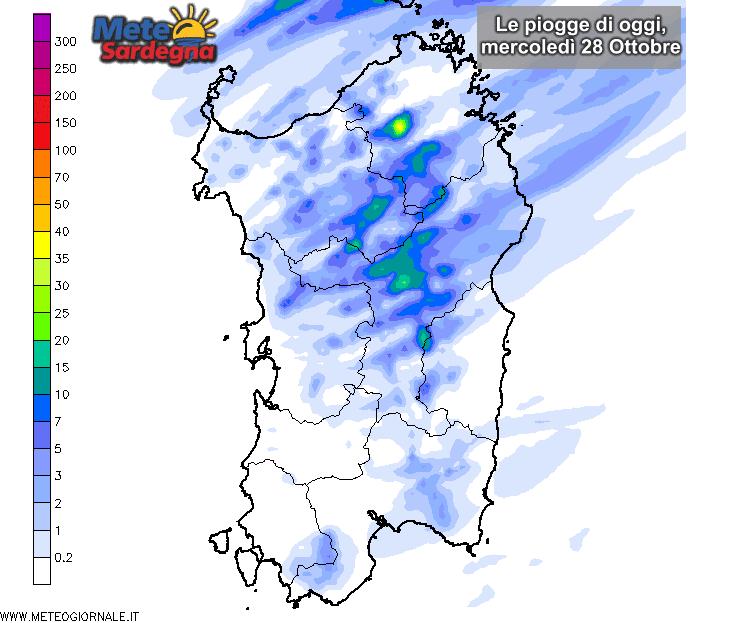 Le piogge di oggi, mercoledì 28 Ottobre, secondo il nostro LAM.