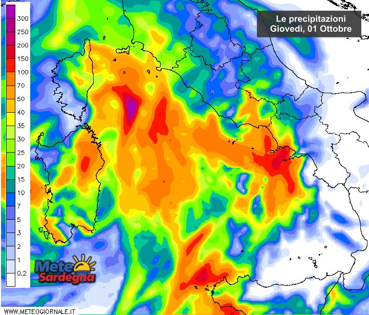 le piogge di oggi 01 Ottobre secondo il modello di previsione ad alta risoluzione del Meteo Giornale.