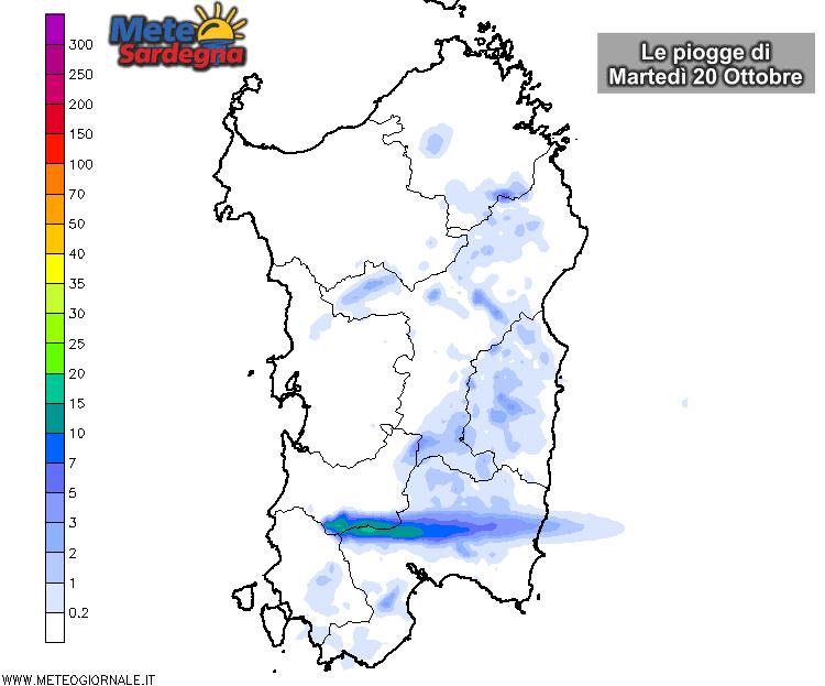 Le piogge di martedì 20 Ottobre secondo il nostro modello ad alta risoluzione.