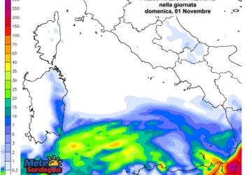 Le piogge domenica 01 Novembre secondo il modello ad alta risoluzione del Meteo Giornale.