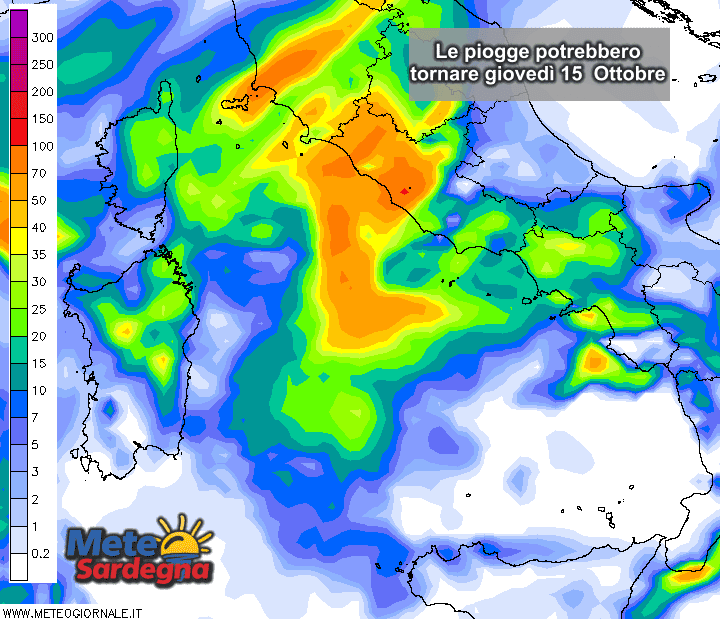 Le piogge potrebbero ripresentarsi in Sardegna nella giornata di giovedì 15 Ottobre.