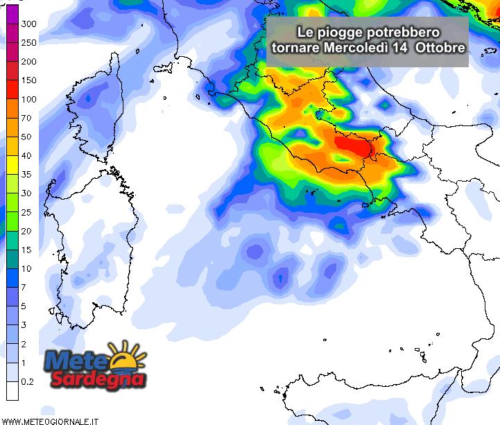 Le piogge potrebbero anticipare i tempi e riproporsi già mercoledì 14 Ottobre.
