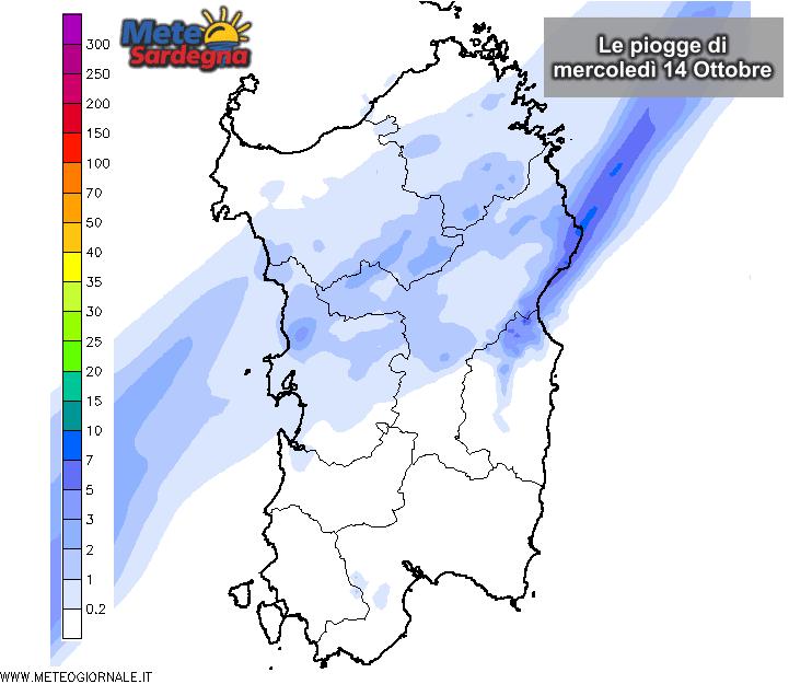 Le piogge secondo il nostro LAM, modello ad altissima risoluzione del Meteo Sardegna.