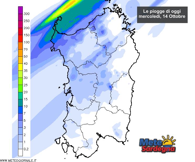 Le piogge di oggi, mercoledì 14 Ottobre, secondo il nostro modello ad alta risoluzione.