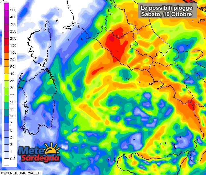 Le possibili piogge di sabato 10 Ottobre secondo il modello ad alta risoluzione del Meteo Giornale.
