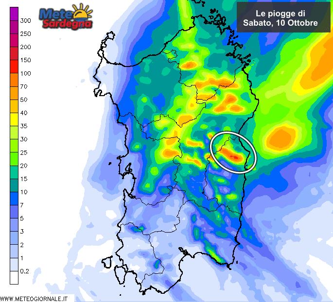 Le piogge di sabato 10 Ottobre secondo il modello LAM del Meteo Sardegna.