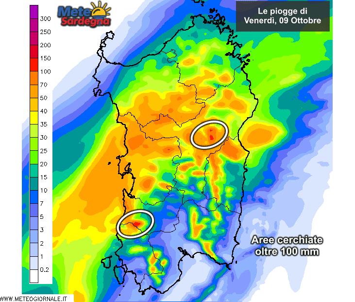 Gli accumuli di pioggia nelle 24 ore di oggi, venerdì 09 Ottobre, secondo il modello LAM del Meteo Sardegna.