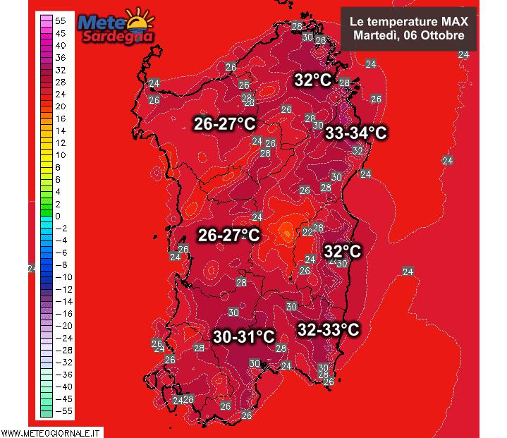 Le temperature massime di martedì 06 Ottobre.