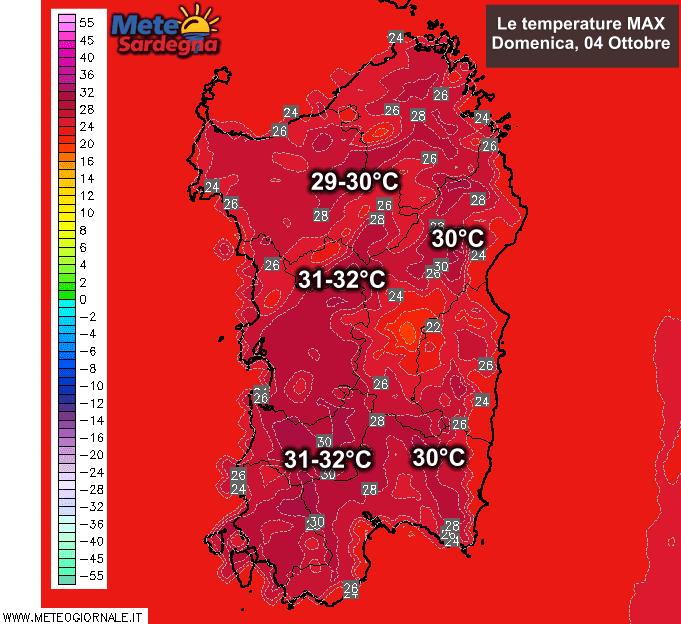 Le temperature massime previste per la giornata di domenica 04 Ottobre.