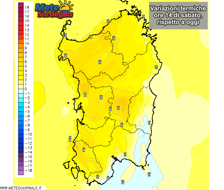 Le variazioni termiche delle ore 14 di sabato 24 Ottobre, rispetto alla stessa ora di oggi.