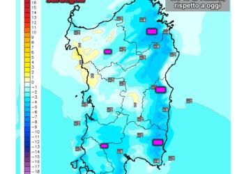 Variazioni termiche delle ore 13 di venerdì 30 Ottobre, rispetto alla stessa ora di oggi.