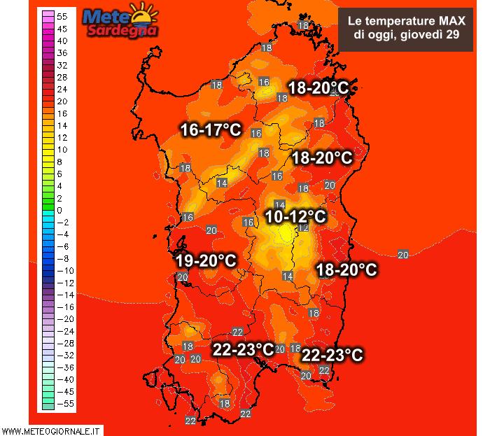 Le temperature massime di oggi, giovedì 29 Ottobre.