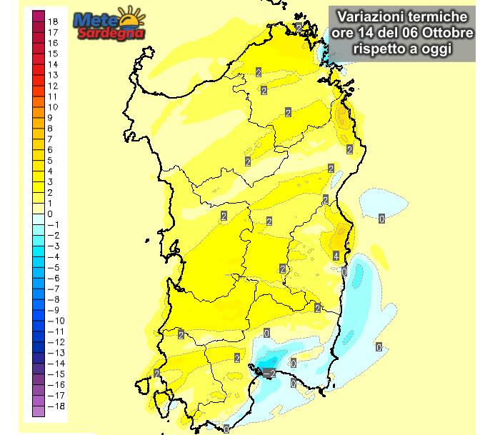 Le differenze di temperature delle ore 14 di Martedì 06 Ottobre, rispetto alla stessa ora di oggi.