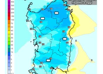 La variazioni di temperatura delle ore 14 di mercoledì 07 Ottobre, rispetto alla stessa ora di oggi.