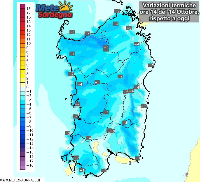 Le differenze di temperatura delle ore 14 di mercoledì 14 Ottobre, rispetto alla stessa ora di oggi.