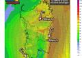 Le raffiche di vento al suolo alle ore 15 di oggi, venerdì 23 Ottobre.