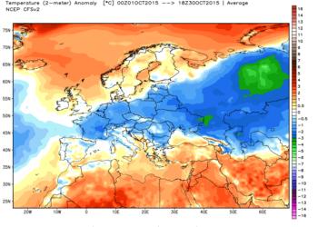 Le anomalie termiche dal 01 Ottobre ad oggi.