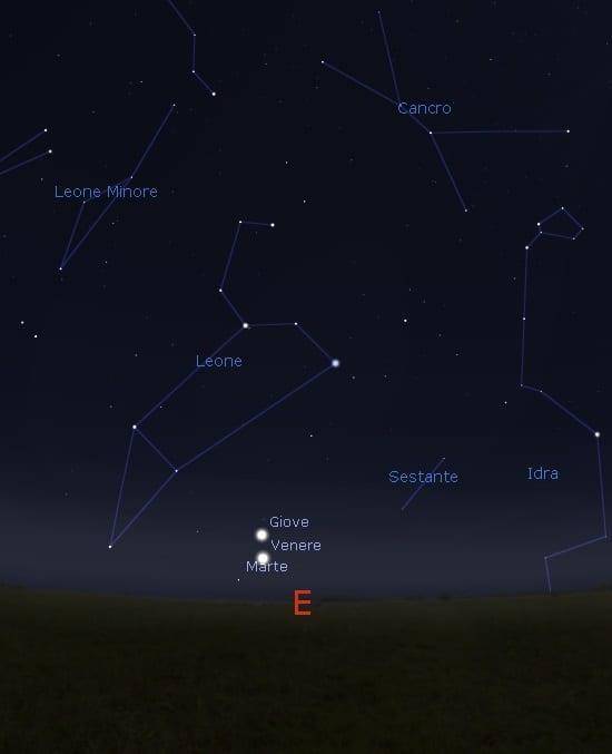 marte venGiov28ottobre - Domani spettacolare triangolo Venere, Giove e Marte