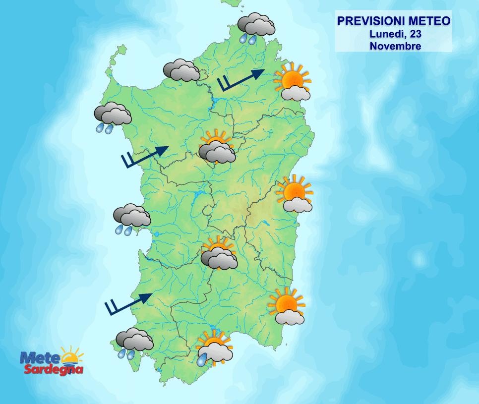 Le previsioni meteo per la giornata di oggi, lunedì 23 novembre.