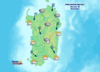 La previsione meteo di oggi, giovedì 26 novembre.