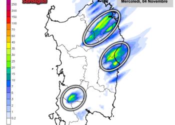 Le piogge di oggi, mercoledì 04 Novembre, secondo il nostro modello LAM ad altissima risoluzione.