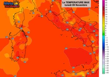 Le temperature massime previste lunedì 09 Novembre.