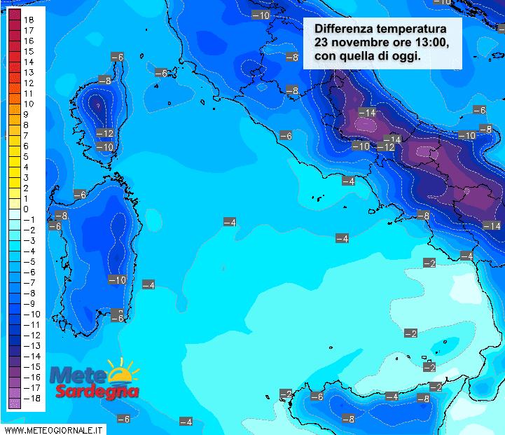 Differenza di temperatura ore 13 di domenica 23 novembre, rispetto alla stessa ora di oggi.