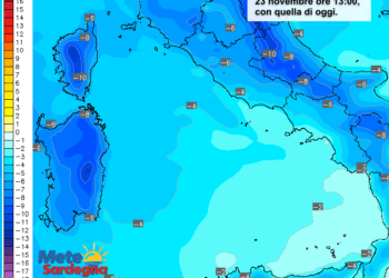 Le differenze di temperatura delle ore 13 di domenica 22 Novembre, rispetto a oggi.