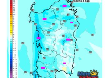 Le variazioni di temperatura delle ore 13 di giovedì 26 novembre, rispetto a oggi.