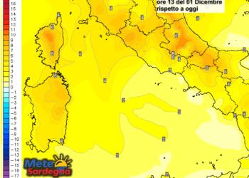 Le variazioni di temperatura delle ore 13 del 1° dicembre, rispetto ad oggi.