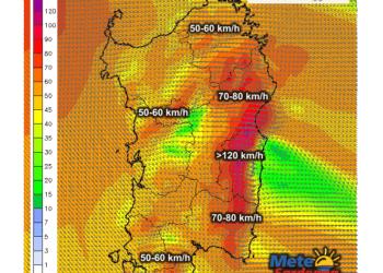 Raffiche di vento al suolo alle ore 21 di oggi, sabato 28 novembre.
