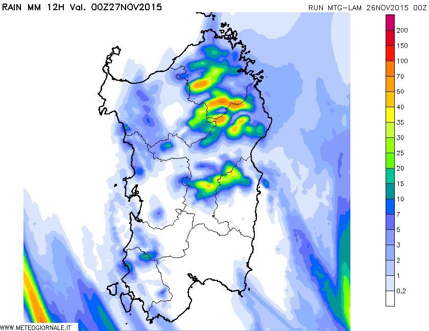 Entità e distribuzione delle precipitazioni dalle ore 12 alla prossima mezzanotte.