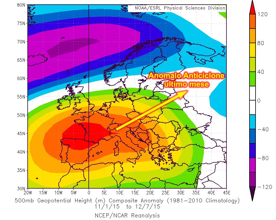 Anomalia anticiclonica da inizio novembre ad oggi: è preoccupante, gravissima.