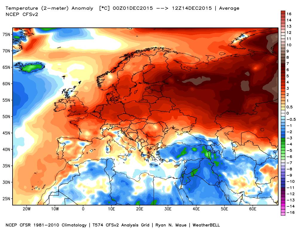 Le anomalie termiche delle prime due settimane di Dicembre su base dati NCEP NOAA.