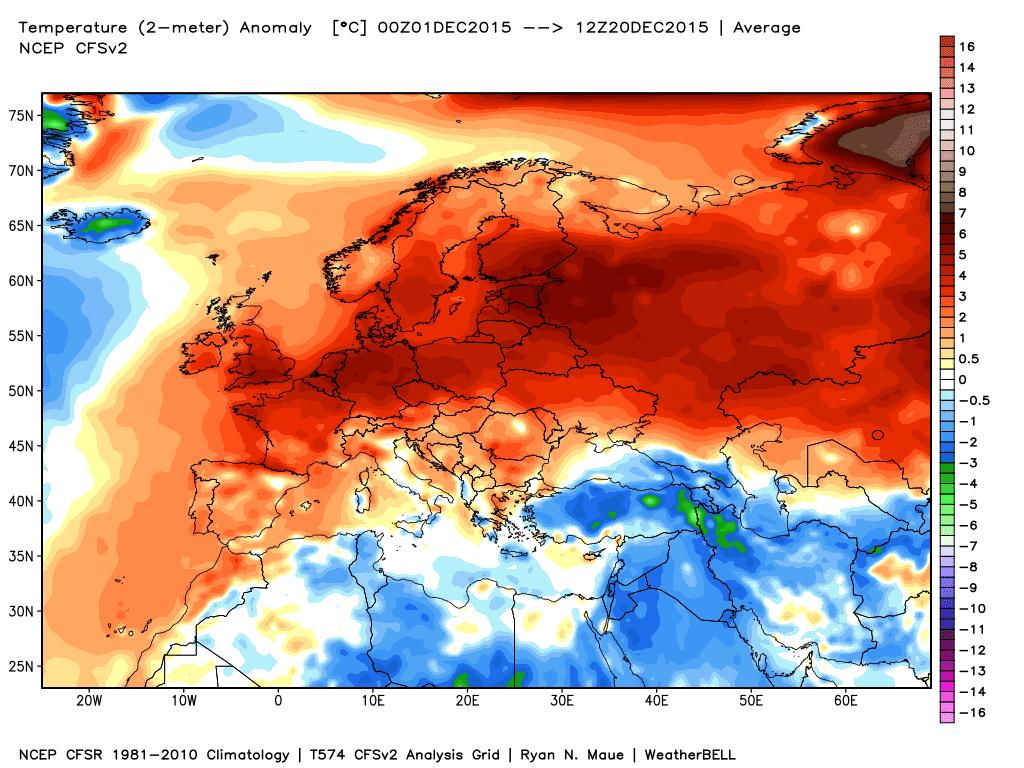 Le anomalie termiche nei primi 20 giorni di Dicembre.