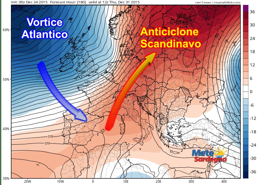 Le anomalie di pressione (rispetto alla media 1981-2010) alla quota 500 hPa (circa 5500 metri d'altitudine). Evidente il forte rialzo pressorio in Scandinavia e l'avvicinamento delle perturbazioni atlantiche all'Europa occidentale.
