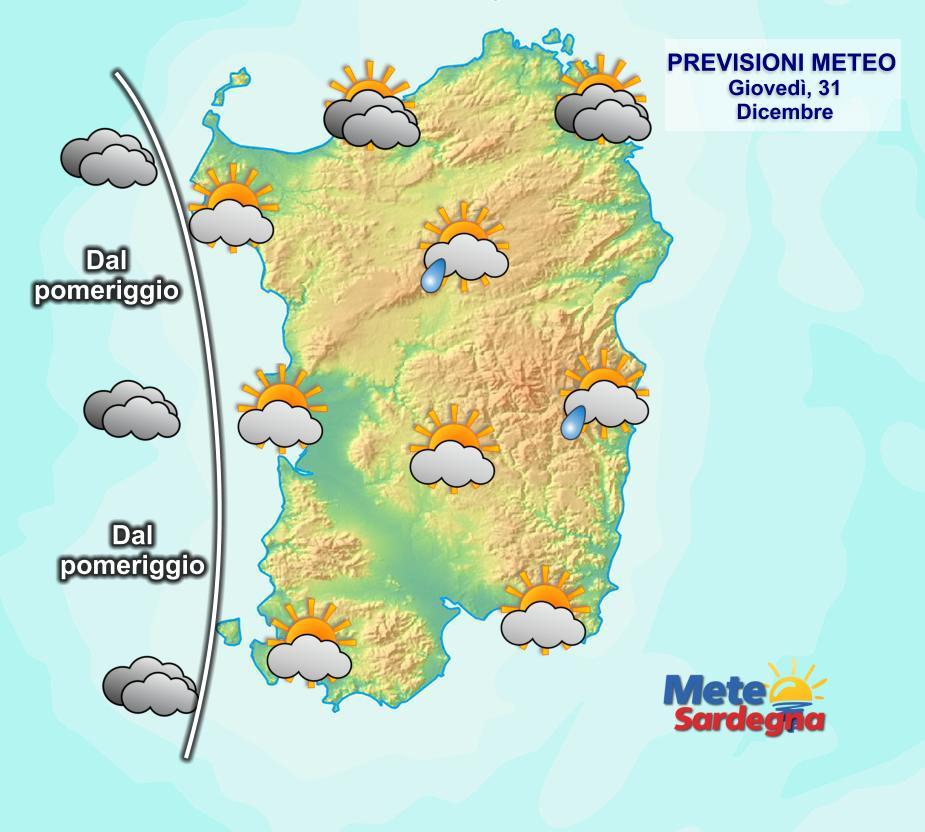 La previsione meteo per la giornata di oggi, l'ultima dell'anno, e per la notte di Capodanno.