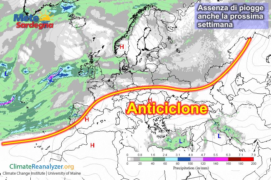 Assenza di piogge anche nel corso della prossima settimana.