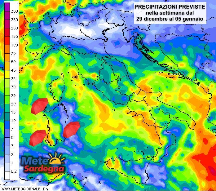 Le piogge nella settimana dal 29 dicembre al prossimo 05 gennaio.