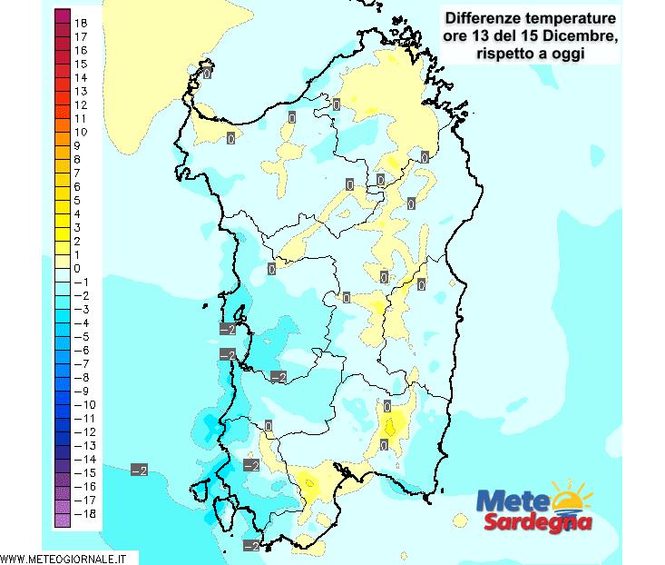 Le variazioni di temperatura delle ore 13 di martedì 15 dicembre, rispetto a oggi.