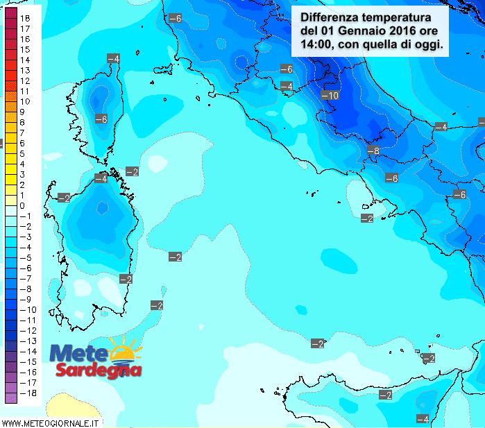 Le differenze di temperatura delle ore 13 del 01 Gennaio 2016 rispetto a oggi.