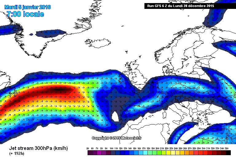 Le correnti ad alta quota: la circolazione atlantica sarà molto forte ma verrà costretta a transitare a basse latitudini a causa del blocco gelido in Scandinavia.