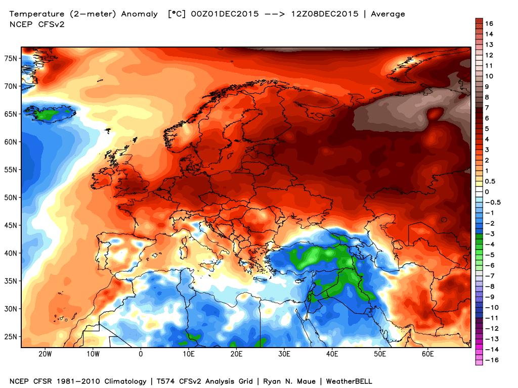 Le anomalie termiche dal giorno 01 al giorno 08 Dicembre.