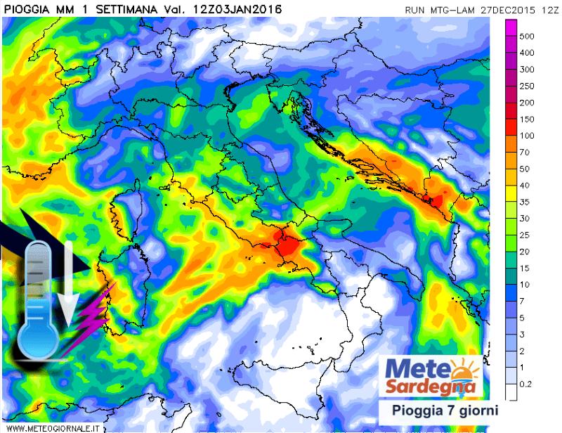Stima delle piogge previste nei prossimi 7 giorni.